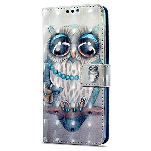 kompatibel mit Huawei P9 Lite Mini Hülle,3D Gemalt Muster Kristall Glitzer PU Leder hülle Flip Hülle Brieftasche Etui Wallet Tasche Schutzhülle für Huawei P9 Lite Mini,Blau Eule