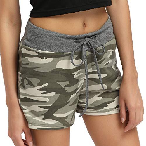 VRTUR Strandshorts Damen kurz Bermuda-Shorts Frauen Beach-Style-Print Kurze Hose lockere High Waist Mode Sommerhosen Yoga Pants(Grün,L) -