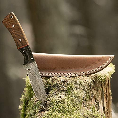 elToro Walnut Horn - Damast - Jagdmesser - 10cm - inkl. Lederscheide