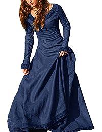 Vestito Medievale Donna Abito Costume Cosplay Medioevo Principessa Vestito  Gotico Rinascimentale Blu S 675477a9831