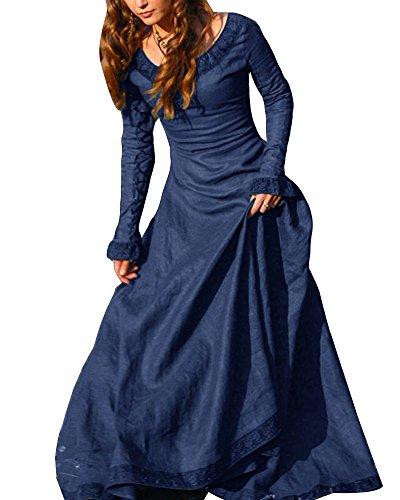 Frauen Vintage Mittelalter Kleid Cosplay Kostüm Langarm Kleid Prinzessin Gothic Kleid Übergröße...