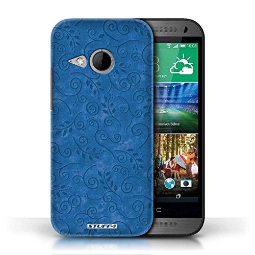 Kobalt® Imprimé Etui / Coque pour HTC One/1 Mini 2 / Orange conception / Série Motif Feuille Remous Bleu