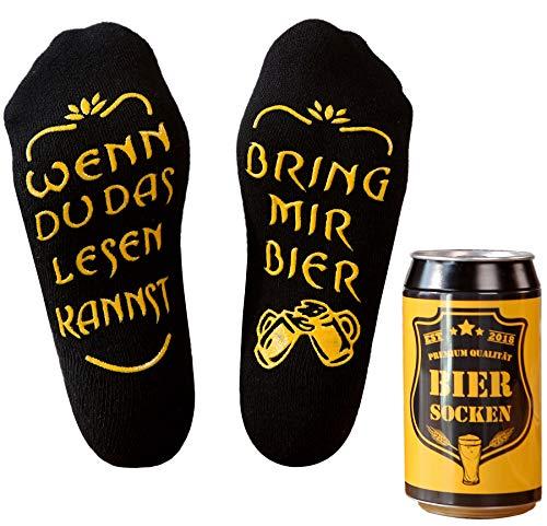 Bier Socken Herren, Bier Geschenk für Männer, Weihnachtsgeschenk, lustige Socken m. Wenn Du das Lesen Kannst bring mir Bier, Geburtstagsgeschenk für Freund,Bruder, Schwarz, 37- 44