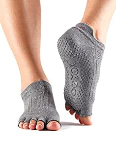 ToeSox Half Toe Low Rise Grip Socks For Yoga, Pilates, Fitness Non Slip Skid Socks - 1 PAIRS (Grey, Medium/6-8.5)