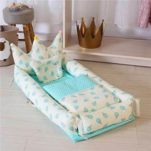 WNZL Baby Lounger, Co Sleeping Baby Stubenwagen - Babybett aus Baumwolle Premium-Qualität und größere Größe (0-24 Monate) - Atmungsaktives, hypoallergenes, tragbares Kinderbett,13 -