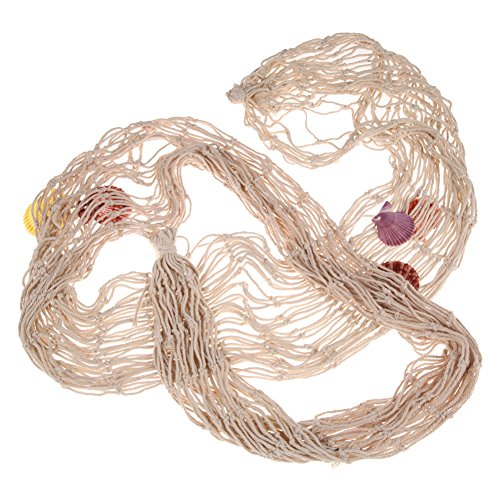 prettygood7 Dekoratives Fischernetz am Meer Wand Strand Party Muschel (beige)