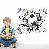 #4: 3D creative football break hole wall sticker decal kids sports pvc wallpaper boy men home school classroom door decoration