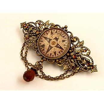 Große Kompass Haarspange in braun bronze, Navigation