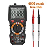 Multimeter Meterk Digitales Messgerät mit 6000 Counts Voltmeter AC DC NCV Live Wire Temperatur Messung Multi Tester Anti Kurzschluss True RMS mit Flashlight hintergrundbeleuchtetem großer LCD-Anzeige