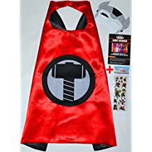 Thor Cape y máscara + Pegatinas gratis. - para niños satén Capes Disfraces con fieltro Máscaras Super Héroes verkleidung Super Hero Abrigos, Kim para niños - King Mungo - kmsc043