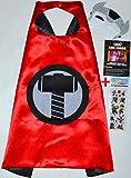 Thor Cape et masque + autocollant. Gratuit - Pour les enfants Satin Capes Costumes avec revêtement feutre Masques Super Héros Super Hero Manteaux, Cou pour enfants - King Mungo - kmsc043