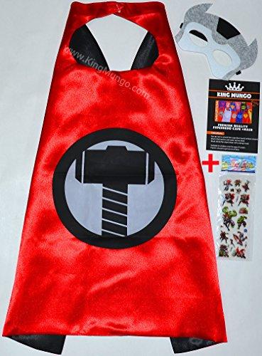 (Thor Cape und Maske + Aufkleber! - Superheroes für Kinder Satin capes Kostüme mit filz masken Superhelden verkleidung Superhero Mäntel, Umhänge für Kinder - King Mungo - KMSC043)