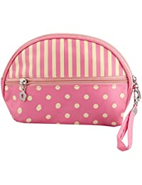 Pink&Yellow Color Cosmetic Bag With Polka Dots |Makeup Pouch|Makeup Bag For Ladies|Girls|women