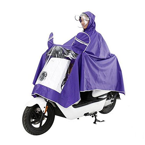 Haodasi Double Cover Cap Imperméable Motocyclette Scooter Rainwear Poncho Coat purple