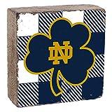 Rustic Marlin Designs Notre Dame Fighting Irish Holzblock mit Logo, 15,2 x 15,2 cm, Unisex, Logo Block, weiß/Marineblau, 6