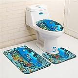 BKPH 3pcs/set Sea World Bathroom Mat Sets, Bath Mat + Pedestal Mat + Toilet Seat Cover Mat, C