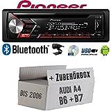 Audi A4 B6 B7 - Autoradio Radio Pioneer DEH-S3000BT - Bluetooth | CD | MP3 | USB | Android Einbauzubehör - EINBAUSET
