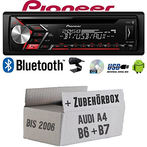 Autoradio Radio Pioneer DEH-S3000BT - Bluetooth | CD | MP3 | USB | Android Einbauzubehör - EINBAUSET für Audi A4 B6 B7 - JUST SOUND best choice for caraudio