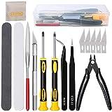 16Pcs Outils de modélisme Gundam Kit d'outils de construction de passe-temps professionnel d'outils de base Ensemble d'artisa