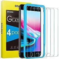 SPARIN [4-Pezzi] Pellicola Vetro Temperato Compatibile con iPhone 8/7/6/6s, [Strumento per Una Facile Installazione], [Alta Trasparente] [Nessuna Bolla] [Anti-Impronte]