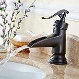 Qwer Colazione continentale calda e Coldil Orbfaucet foro unico bagno specchi vanity Basin-Wide in rame a corto di pozzi cascata rubinetto