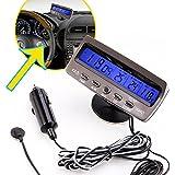 Comprobador de tension - SODIAL(R)12V LCD Termometros interior al aire libre digital de coche Comprobador de tension Voltimetro Voltimetro Automovil Coche Fecha Alarma Negro