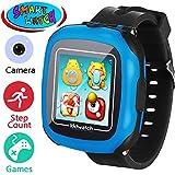 Juego Niños Smart Watch para Niñas Niños Regalos de Pascua con Cámara 1.5 '' Touch 10 Juegos Podómetro Reloj despertador Reloj Smartwatch Reloj de pulsera Monitor de salud (Negro)