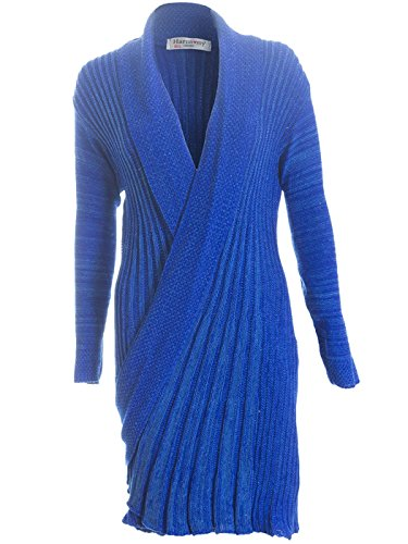 Love My Fashions Femmes Bout Ouvert Tricot Crochet drapé Cardigan Tombant Grande Taille S M L XL XXL XXXL Bleu - Pleated Waterfall - Royal Blue