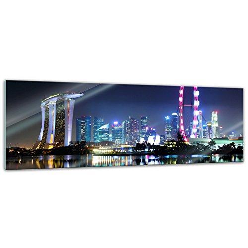 Glasbild - Singapur bei Nacht - 120x40 cm - Deko Glas - Wandbild aus Glas - Bild auf Glas - Moderne Glasbilder - Glasfoto - Echtglas - kein Acryl - Handmade