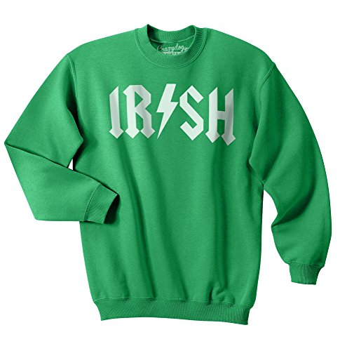 Crazy Dog Tshirts - Irish Rockstar Funny Music St Patricks Day Unisex Crew Neck Sweatshirt for Paddys Day (Green) - 3XL - Herren - 3XL - Vintage St Patricks Tag T-shirts