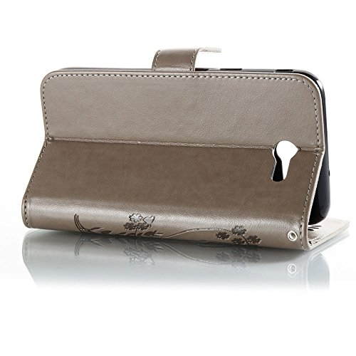 EKINHUI Case Cover Solid Color Faux Leder Bookstyle Brieftasche Stand Case mit geprägten Flower & Lanyard & Card Slots für Samsung Galaxy J7 2017 American Edition ( Color : Gray ) Gray