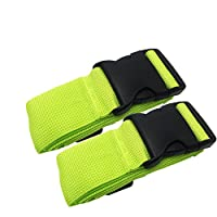 Luggage Straps - Adjustable Suitcase Straps Belt Travel Packing Belt with Buckle Closure (Green 2 Pack)