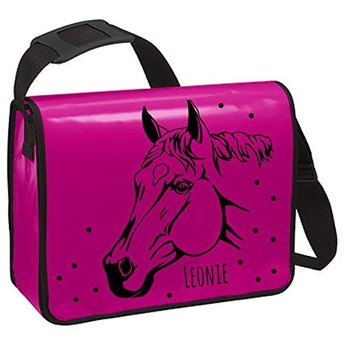 Piano Borsa a tracolla zaino borsa a tracolla cavallo con nome a scelta TA220 Blau - schwarzer Aufdruck Pink - schwarzer Aufdruck