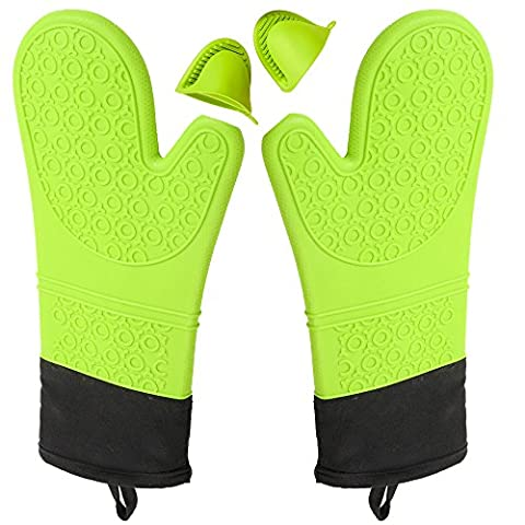 Pingenaneer Heat Resistant Silicone Oven Gloves with Non-slip Grip for Baking,Cooking and Working(1 Pair),Green