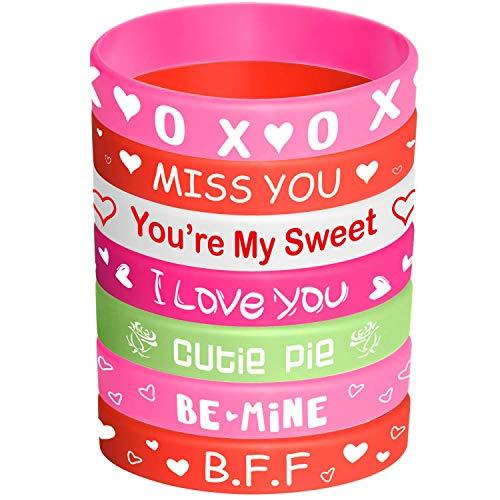 BIEE Valentine Gummiarmband Valentinstag-Armband aus Silikon Valentinstag-Partybedarf (35 Stücke) (Valentine-silikon-armbänder)