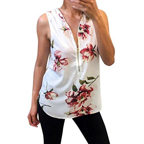 OSYARD Damen Floral Zipper Weste Bluse Top Damen beiläufige Sleeveless T-Shirts Tops(EU 44/M, Weiß)
