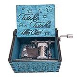 Youtang Spieluhr, Handkurbel, aus Holz, geschnitzt, Musik-Geschenke, Twinkle Twinkle Little Star, Holz, blau, Blau
