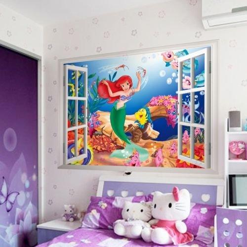 xuritaotao Die Kleine Meerjungfrau Schöne Prinzessin Ariel 3D Fenster Wandaufkleber Kinderzimmer Aufkleber