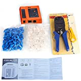 Aimtech® Cable Tester 3 in 1 Crimp Crimper 50 RJ45 RJ11 CAT6 Connector Plug Wire Stripper 50 Protecting Mask