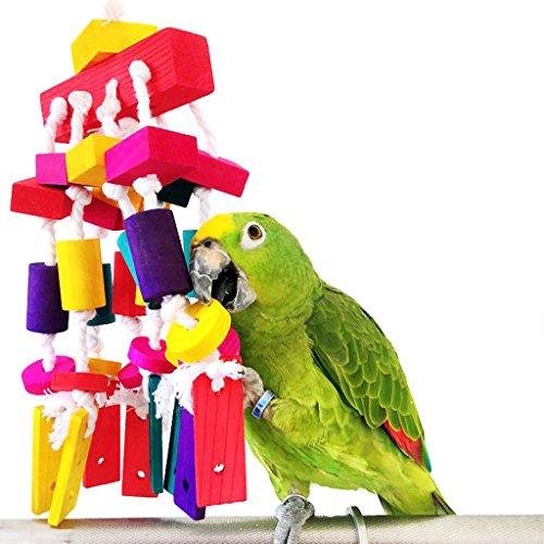 Bwogue Papagei Kauen Spielzeug Aus Holz hängen Bunte Biss Natürlich Spielzeug Kakadus, Cockatiels Und Aras Vogel