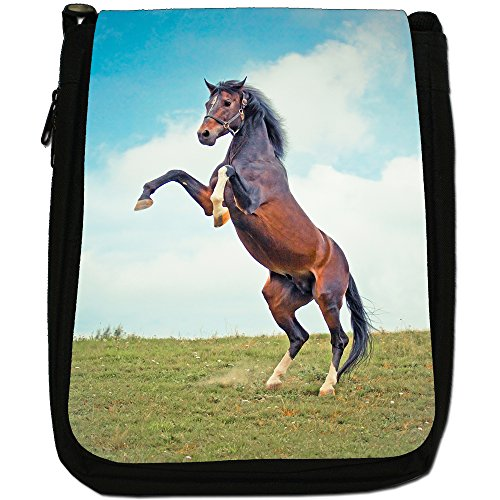 Elegante cavallo marrone medio nero borsa in tela, taglia M Brown Horse Rearing Up 2 Legs
