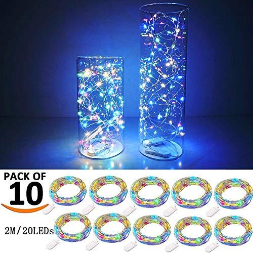 USiFar 10 x 20 LEDs Fairy String Milticolor 2 m Flaschenkork Kork Flaschenverschluss Flaschengirlande Kork Lampen für DIY Zuhause