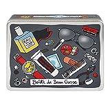 DLP Derriere la Porte - Scatola portaoggetti in metallo, con disegni, colore bianco/grigio