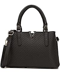 Celaine Womens Handbags V Series PU Leather Shoulder Tote Bag - Large Storage - Gold Buckles And Zipper