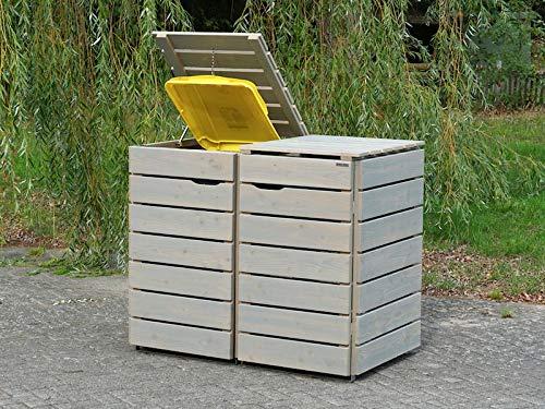 2er Mülltonnenbox / Mülltonnenverkleidung 240 L Holz, Transparent Geölt Grau - 2