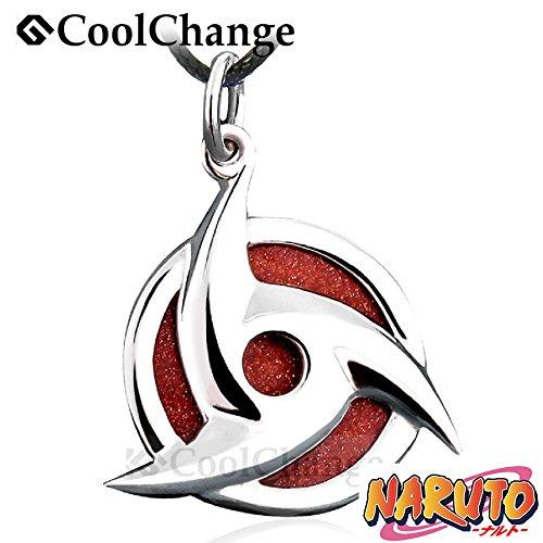 CoolChange Naruto Ketten Anhänger Itachi Uchiha Mangekyo Sharingan aus echtem 925 Sterlingsilber und Goldfluss