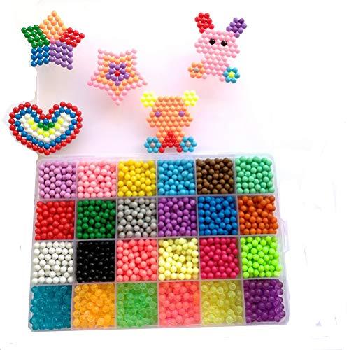 Vytung Mega Bead 3600 perlen 24 Farben(6 leuchten im Dunkeln)Kinder Bastelperlen Kinder Bastelset starter set (24 colors Pack) -