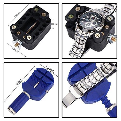 Sopoby Uhrenwerkzeug Set 147tlg Uhrmacherwerkzeug Uhr Werkzeug Tasche Reparatur Set Uhrwerkzeug Gehäuse Öffner in Nylontasche watch tool - 3