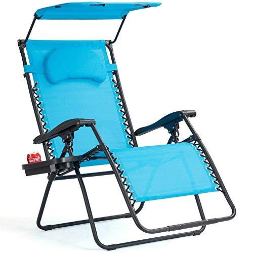 RBH Schwerelosigkeits-Liege, Strandkorb, Faltbarer und Verstellbarer Loungesessel, Getränkehalter und Sonnenschutz für die Terrasse im Freien