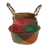 Junlinto, Seagrass Flower Pancia Naturale Vaso di stoccaggio Vaso per Piante con Maniglia Borsa per la Lavanderia a Mano Decorazioni per la casa M